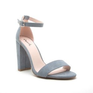 Carrson Heeled Sandal in Sea-foam Blue